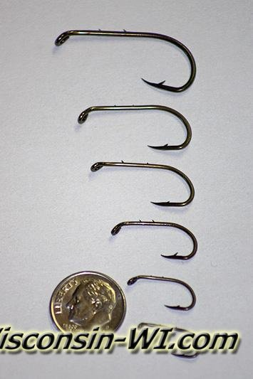 Picture of different size standard Fishing Hooks