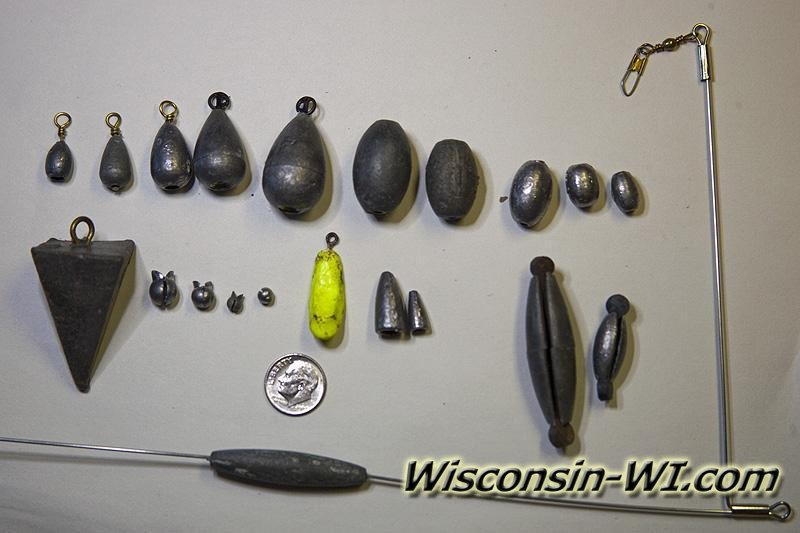 Photo of an assortment of lead Fishing Weights & Sinkers;