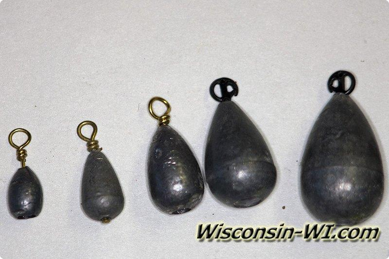 Walleye fishing lures baits tackle gear used in wisconsin for Weighters for fishing